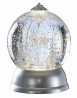 "7"" Silver LED Rotating Santa's Sleigh Glitter Globe"