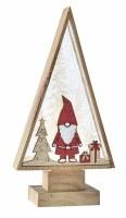 "11"" Acrylic and Wood LED Santa Gnome Glitter Tree"