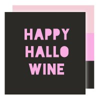 "5"" Square Black And Pink Happy Hallowine Beverage Napkins"