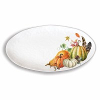 "19"" Oval Sweet Pumpkin Melamine Serving Platter"