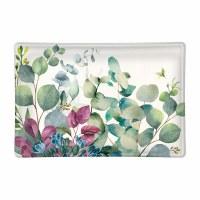 """6"""" Eucalyptus & Mint Rectangular Glass Soap Dish"""