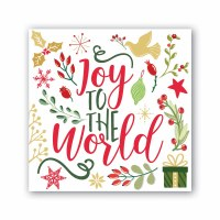 """5"""" Square Joy To The World Gold, Red, and Green Beverage Napkins"""