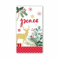 """8"""" x 4"""" Joy To The World Gold Reindeer Guest Towels"""
