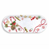 """6"""" x 16"""" Peppermint Candy Melamine Serving Accent Tray"""