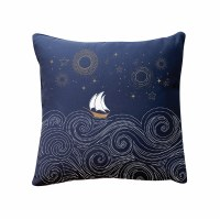 """20"""" Square Embroidered Stormy Seas Indoor Outdoor Pillow"""