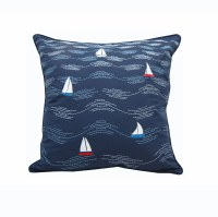 """18"""" Square Cape Series Modern Waves and Boats Pillow"""