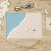 """20"""" x 14"""" Embroidered Seagulls and Beach Waves Placemat"""
