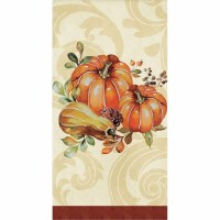 """8"""" x 4"""" Pumpins & Gourd With Burgundy Band Guest Towels"""