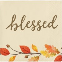 """5"""" Square Blessed Branch and Leaves Beverage Napkin"""