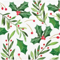 """5"""" Square Traditional Holly Beverage Napkins"""