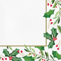 """6.5"""" Square Traditional Holly Lunch Napkins"""