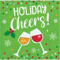 """5"""" Square Green Holiday Cheers Beverage Napkins"""