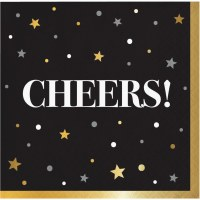 """5"""" Square Black With Gold Stars Cheers Beverage Napkins"""