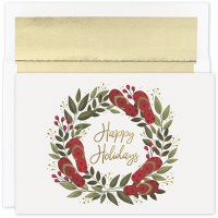 "Box of 18 6"" x 8"" Happy Holidays Flip Flops Wreath Cards"