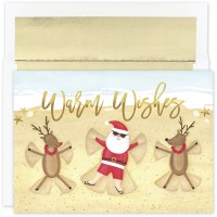 """Box of 18 6"""" x 8"""" Santa and Reindeer Snow Angels Cards"""