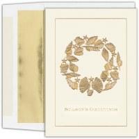 "Box of 18 8"" x 6"" Gold Shell Wreath Season's Greetings Cards"
