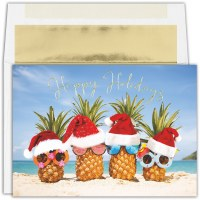 "Box of 18 6"" x 8"" Happy Holidays Pineapple Santas Cards"