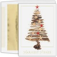 "Box of 18 8"" x 6"" Driftwood Christmas Tree Cards"