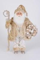"""17"""" Silver and Gold Coat Seashell Santa"""