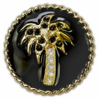 Set of 2 Capri Black Enamel and Gold Palm Tree With Stones Snap