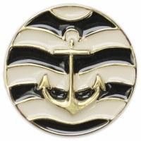 Set of 2 Marina Black and Cream Enamel Gold Anchor Snap