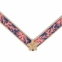 Large Ariel Blue and Coral Gold Starfish Strap