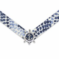 Medium Cayman With Silver and Navy Anchor Strap