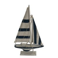 """12"""" Navy and White Striped Wood Sailboat With Stand"""