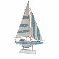 """12"""" Light Blue and White Striped Wood Sailboat With Stand"""
