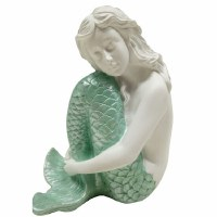 """8"""" Mint Tail Polyresin Mermaid Sitting With Knees Drawn"""