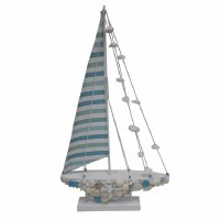"""22"""" Blue and White Sea Glass With Shells Sailboat"""