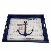 """12"""" x 15"""" Hand-Carved Blue and White Anchor Distressed Wood Tray With Handles"""