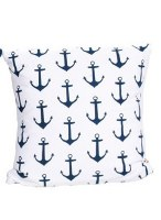 """16"""" Square Blue Anchors on White Cotton Pillow"""