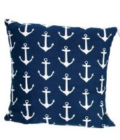"""16"""" Square White Anchors on Blue Cotton Pillow"""