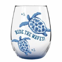 18 oz Blue Ombre Ride The Waves Sea Turtles Stemless Wine Glass