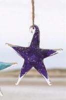"""4"""" Dark Blue Art Glass Starfish With Jute Hanger"""