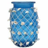 """11"""" Tall Blue Glass Vase With Netting and Shells"""