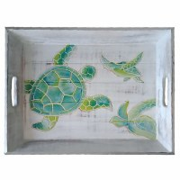 """12"""" x 15"""" Hand-Carved Green Sea Turtles Distressed Wood Tray With Handles"""