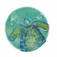 """14"""" Round Blue and Green Embossed Melamine Sea Turtle Bowl"""
