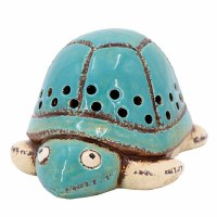 """7"""" Turquoise Embossed Ceramic Sea Turtle Night Light"""