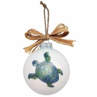 """4"""" Round Blue and Green Sea Turtle Glass Ball Ornament With Raffia Bow"""