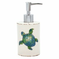 """7"""" White Ceramic With Embossed Blue and Green Sea Turtle Soap Dispenser With Metal Pump"""
