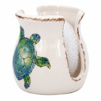 """4"""" White Ceramic With Embossed Blue and Green Sea Turtle Sponge Holder With White Sponge"""