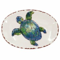 """6"""" Oval White Ceramic With Blue and Green Sea Turtle Soap Dish"""