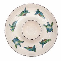 """12"""" Round White Ceramic With Blue and Green Swimming Turtles Chip & Dip Bowl"""
