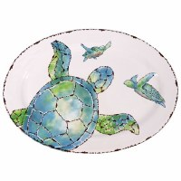 """16"""" Oval White Ceramic With Blue and Green Sea Turtle Trio Serving Platter"""