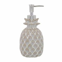 """7"""" Distressed White Embossed Ceramic Pineapple Soap Dispenser With Metal Pump"""