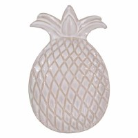 """6"""" Distressed White Embossed Ceramic Pineapple Shaped Soap Dish"""