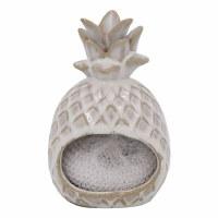 """6"""" Distressed White Embossed Ceramic Pineapple Shaped Sponge Holder"""