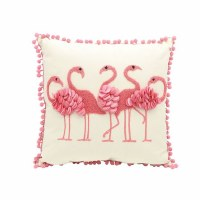 """16"""" Square Pink Flamingos With Textured Detail Pillow With Pom Pom Trim"""